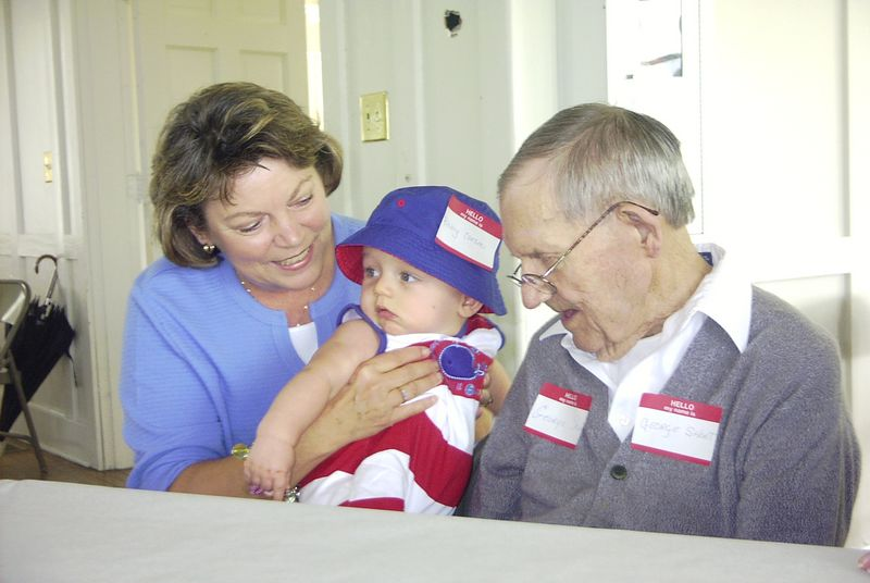 Priscilla, Carson and Grandpa Short at the Short Family Reunion, September 2004