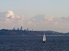 """The Mountain is out"": Mt. Rainier behind Seattle skyline, with sailboat"