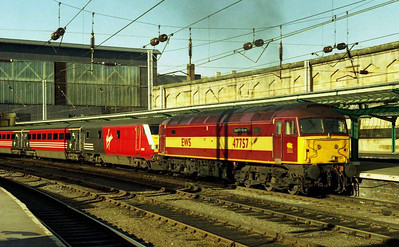 History in the making as 47757 departs Carlisle with 1M64. The loco failed at Blackburn on its way back north from Preston later that evening with 1S86, and never worked again (08/02/2004)