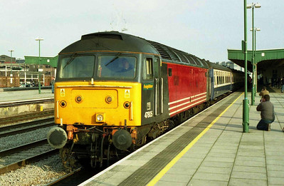 Now leased to Freightliner Heavy Haul, the former Virgin XC machine is pictured on arrival at Cardiff with 1Z48 (14/02/2004)