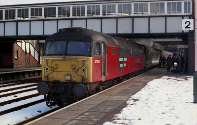 Not had a motion on the 'Coast' for at least a week, so here's 47749 at Bangor with 1D65 1030 Crewe-Holyhead, which had just been caped due to dragging brakes (28/02/2004)