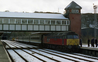 A picturesque scene of general chaos in the snow at Bangor... 47749 'Atlantic Collge' blocks the down platform having failed on 1D65 1030 Crewe-Holyhead, whilst a Holyhead-bound '158' has just arrived at the rear of the errant train to allow some less-tha