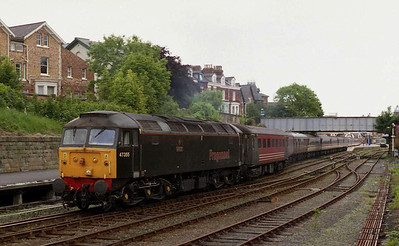 1Z45 had reversed at Ipswich, with '703 continuing forward to Yorkshire. The stock was booked to run to York and back for watering, and 47355 is seen here departing Scarborough with the empties at lunchtime (05/06/2004)
