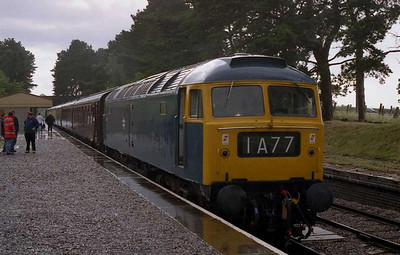 The summer sun had given way to rain by the end of the afternoon... 47105 waits to depart from the Race Course with its final solo working of the day, the 1723 back to Toddington (02/07/2004)