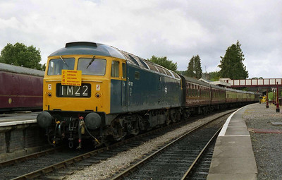 The BT4F's other operational loco, 47105, is pictured on arrival at Winchcombe during the lunch break with the 1334 from Cheltenham Race Course (02/07/2004)