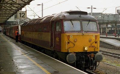 47787 'Windsor Castle' is pictured on arrival at Crewe with 1A77 1323 from Holyhead. The train was terminating here today due to a week-long engineering blockade on the WCML (01/06/2004)
