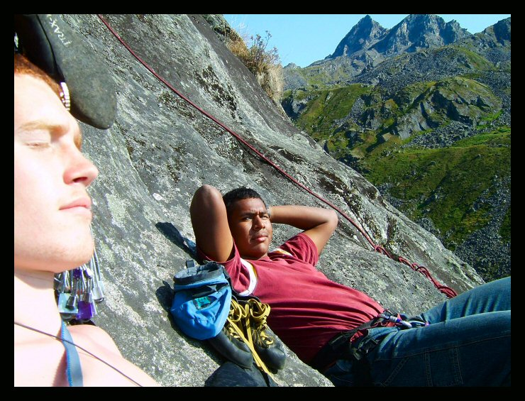 Relaxation on the rocks of the Snowbird Slab in Reed Valley.  Myself and Elisha Davis in the shot.