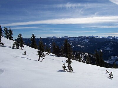 View south-east.  Sierra at Tahoe can be seen.