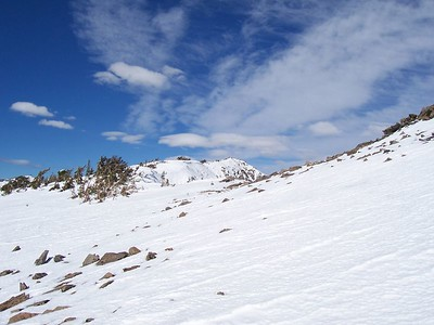 Looking up to the true summit.