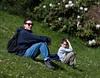 Chantal and Benjamin sitting on the bank