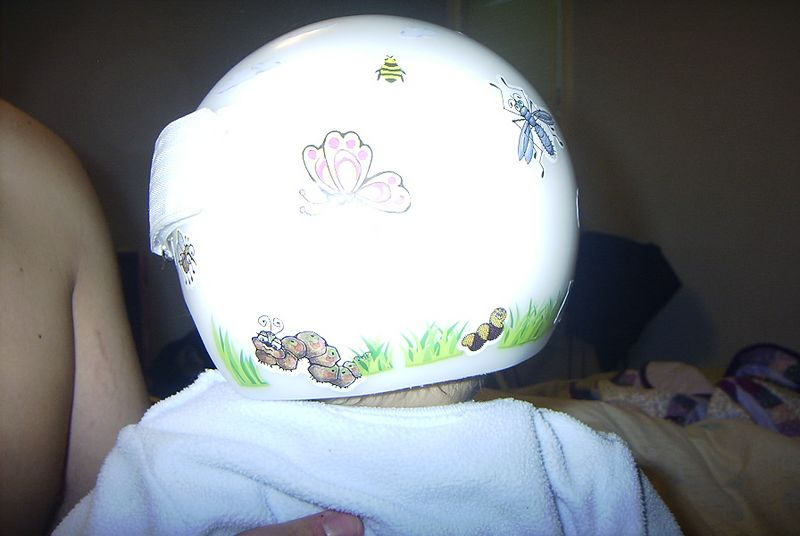 Mommy decorated my helmet...it was therapeautic for her too!
