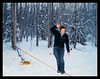 Kate Spalinger walks the slackline in Eagle River on a cold winter evening.