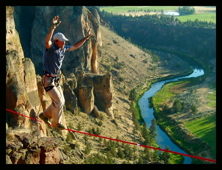 """""""Metolius"""" Shawn Snyder on one attempt of the long line at the Monkey Face, Smith Rock, Oregon."""