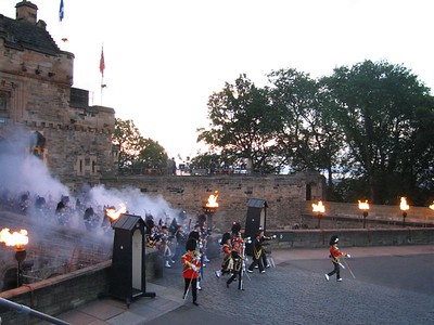 Pipers emerge from the gate of Edinburgh Castle
