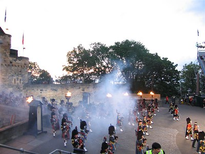 Pipers emerge from the gate of Edinburgh Castle 2