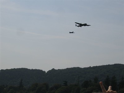 Air Show Lancaster Bomber and Spitfire