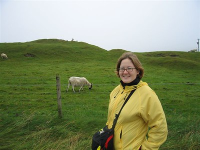 Sarah and an Iona Sheep