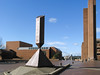 """""""Red Square"""", or the Central Plaza. In the foreground is Barnett Newman's """"Broken Obelisk""""."""