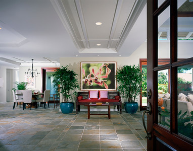 Large Contemporary Entryway in Coastal Home