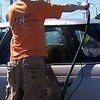 Graham rinses off the two lines of cars at the Car Wash #2 in April 2005