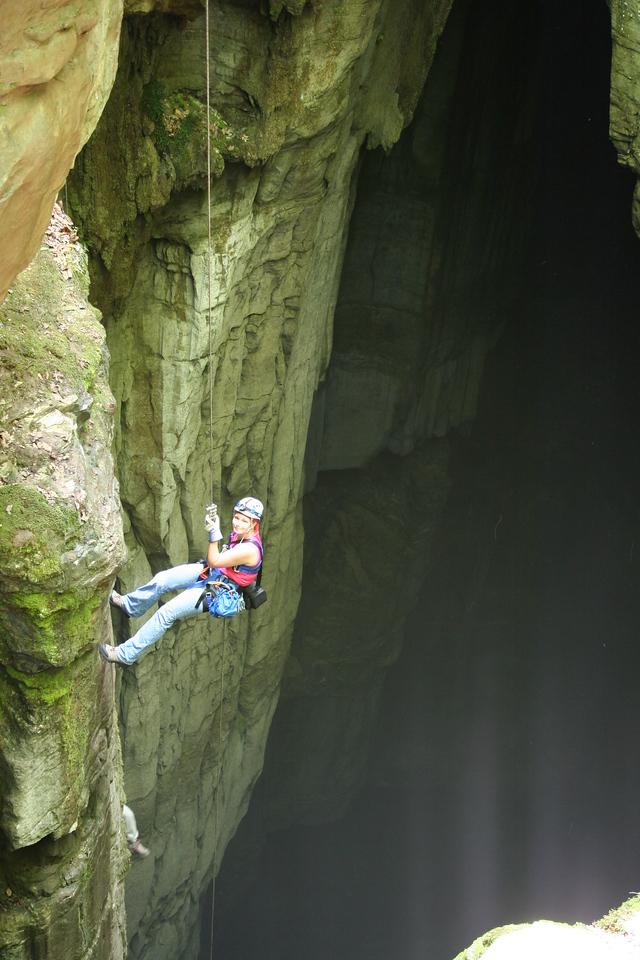 Crystal descending the 227 foot drop into Valhalla.