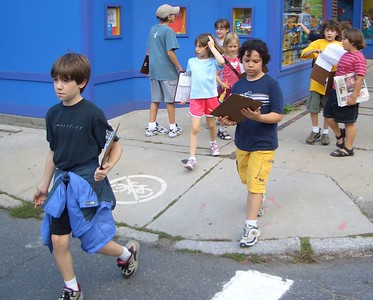 David & Theron crossing the street.  In background L to R:  Alex, Isabel, Eva, Klara, Kenny, Miles.  The kids have been well trained at school about stopping and waiting when we get to a street.  It was nice for me to not have to worry about corraling them to keep them safe across streets.