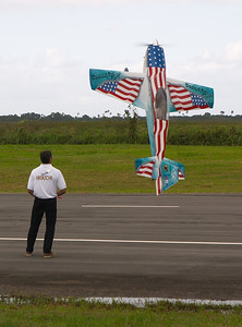 """This guy's flight routine was very patriotic. They played """"Proud to be an American"""" and someone ran around waving a flag."""