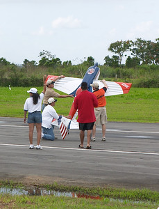 Most planes showed off by taking off across the runway rather than down it. This guy one-upped them
