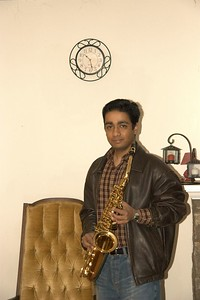 My brother Vik playing the saxophone
