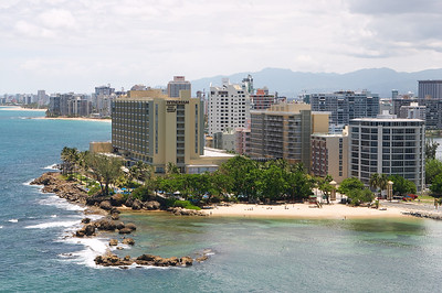 Hotels are packed onto the coastline in Condado