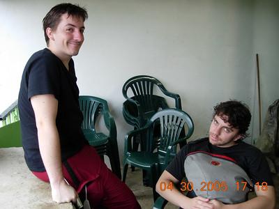 Dan and Andrs enjoy sorullos and empanadillas de pizza