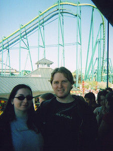 Cat and Bryan in line for the Raptor