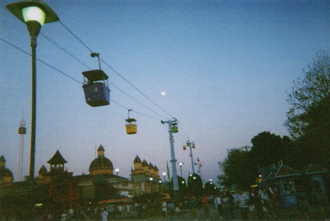 Cable cars at dusk