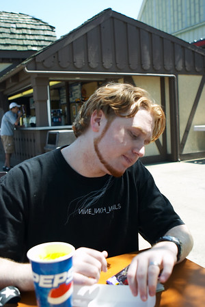 Bryan enjoys a high quality amusement park meal