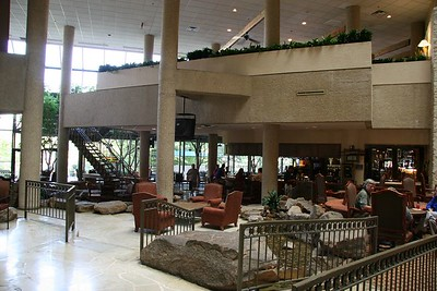 Bar area inside the Hyatt Regency Hotel
