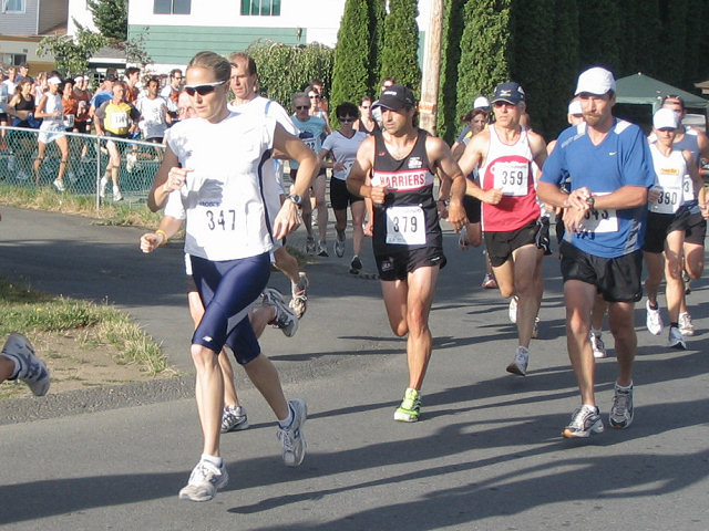 2005 Run Cowichan 10K - Another 'junior' master - Kathy Rung from Campbell River