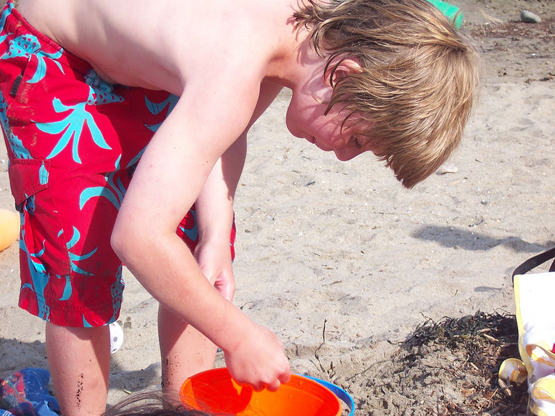 Linconville beach; looking at hermit crabs.....