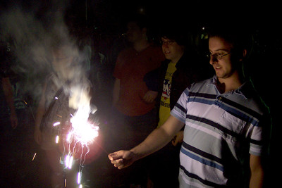 Adam with a sparkler