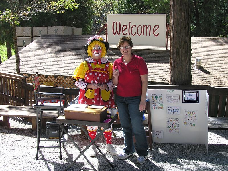 Here I am with the clown- the clown gave me a paper flower