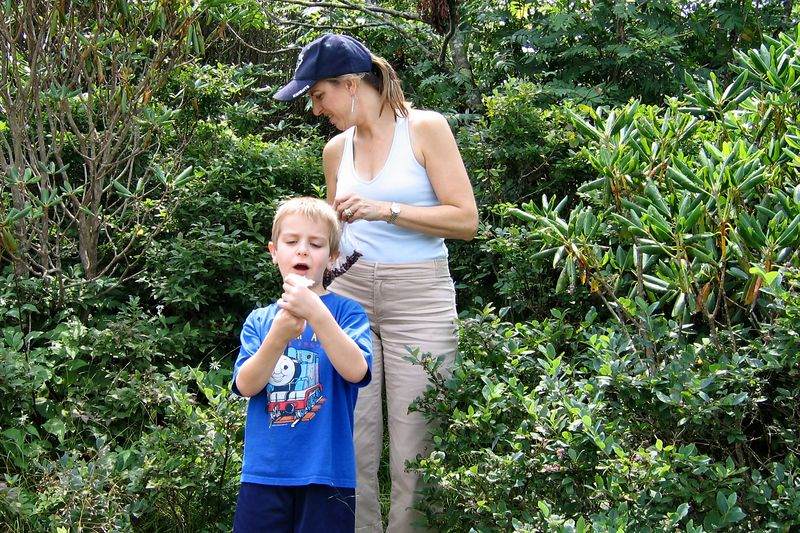 Elizabeth and Anthony picking Blueberries