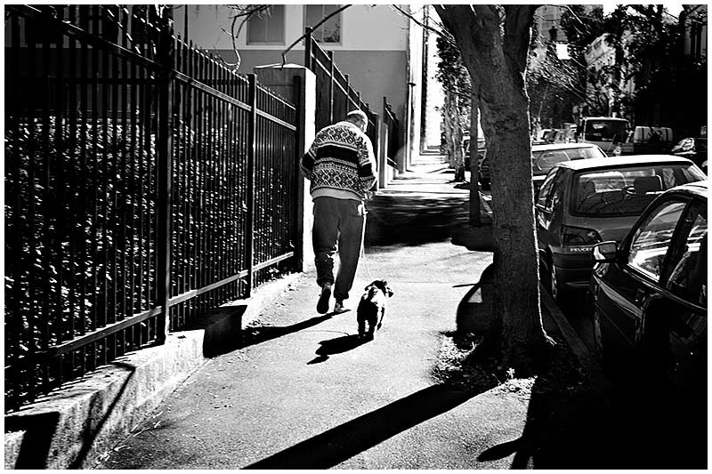 Commonwealth Street, Surry Hills, Tuesday August 30th 2005. <br /> <br /> One man and his dog. <br /> <br /> EXIF DATA <br /> Canon 1D Mk II. EF 17-35 f/2.8L@35mm 1/100s f/13 Shutter Priority ISO 250.