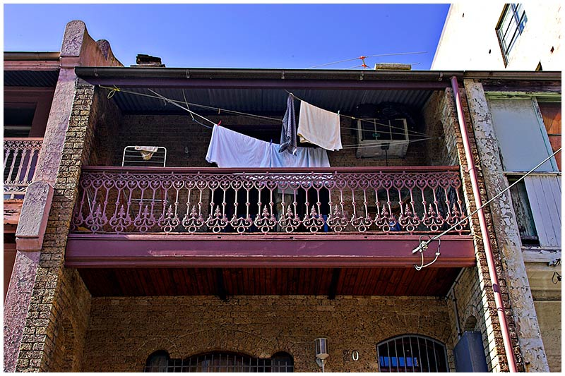 Newtown, Sunday, August 14th 2005. <br /> <br /> There never seems to be a typical inner city terrace house in Newtown. Each one has a unique flavour to it. <br /> <br /> EXIF DATA <br /> Canon 1D Mk II. EF 17-35mm @35mm f/2.8 1/80s f/13. Shutter Priority. ISO 400.