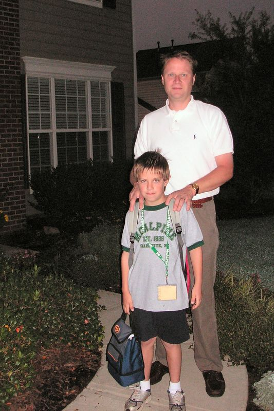 Scott with Jacob, first day of second grade.