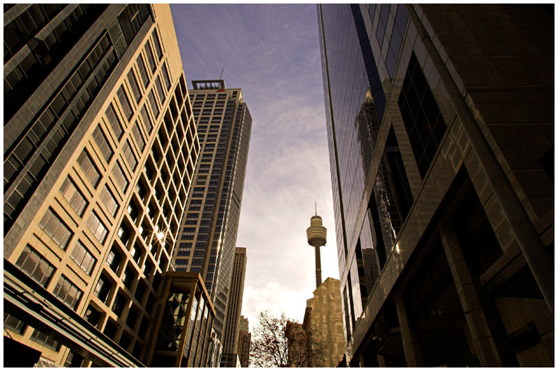 Pitt Street, Monday, August 15th 2005. <br /> <br /> Late afternoon sunshine spills into the canyons between high rise office blocks. <br /> <br /> EXIF DATA <br /> Canon 1D Mk II. EF 17-35mm @17mm f/2.8 1/100s f/22. Shutter Priority. ISO 200.