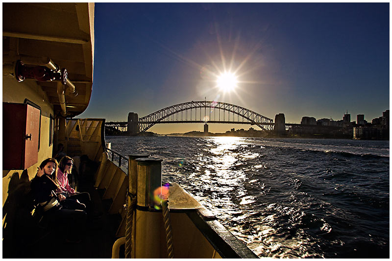 Manly Ferry, Sydney Harbour, Wednesday, August 17th 2005. <br /> <br /> Late afternoon sun casts a warm glow over the harbour. <br /> <br /> EXIF DATA <br /> Canon 1D Mk II. EF 17-35mm @17mm f/2.8 1/125s f/14. Shutter Priority. ISO 200.