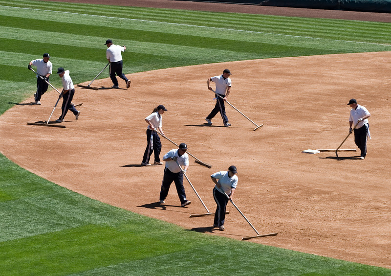 Sweeping the infield.