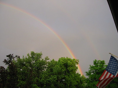Beautiful Rainbow in Denver and Flowers in Front of Boulder House 2005 June