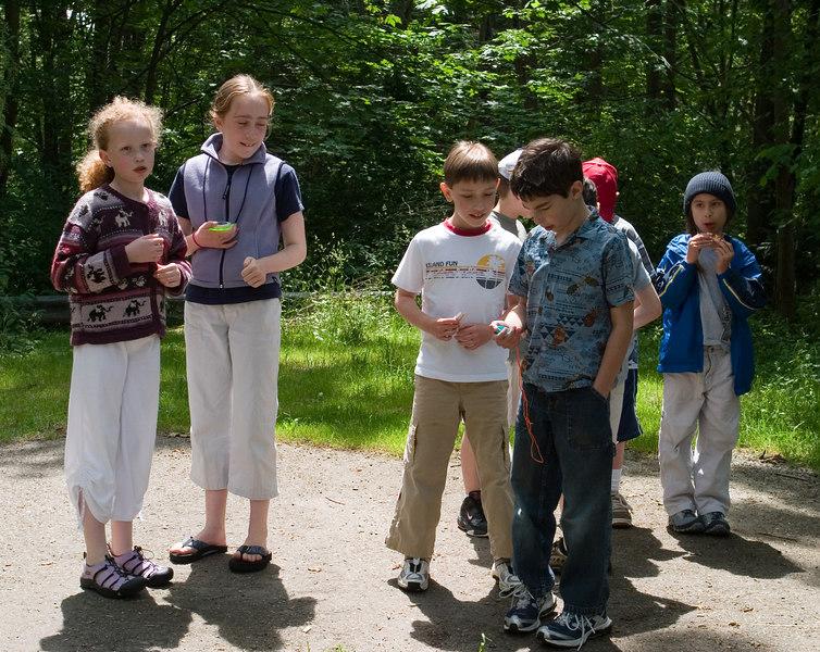Kids gathering for orienteering.