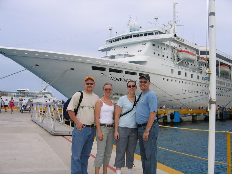 Cozumel, Mexico -- Brent, Leslie, Jen and Dustin at the port in Cozumel Mexico.