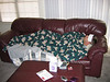 Dustin with 102 fever...three blankets on him and he wanted more!